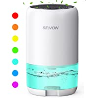 SEAVON Dehumidifier 35oz Dehumidifiers for Home 2600 Cubic Feet (285 sq ft) with 7 Color LED Light, Portable Quiet…