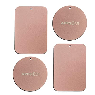 Metal Plate with 3M Adhesive Back for Magnetic Car Mount Cell Phone Holder GPS and Tablet Holder (2 Rectangle & 2 Round) (Rose Gold): Electronics [5Bkhe0903226]