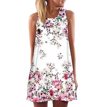 47f91e95a91e97 Cooljun Damen Ärmellos Sommerkleid Minikleid Strandkleid Partykleid  Rundhals Rock Mädchen Blumen Drucken Kleider Frauen Mode Kleid