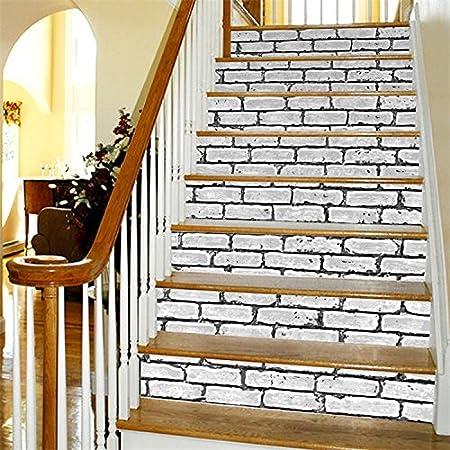 3D imitación de ladrillo pasta de escalera moteado patrones en la escalera de actualización original de etiquetas autoadhesivas resistentes al agua blanca colocada en la pared 100 * 18cm: Amazon.es: Hogar