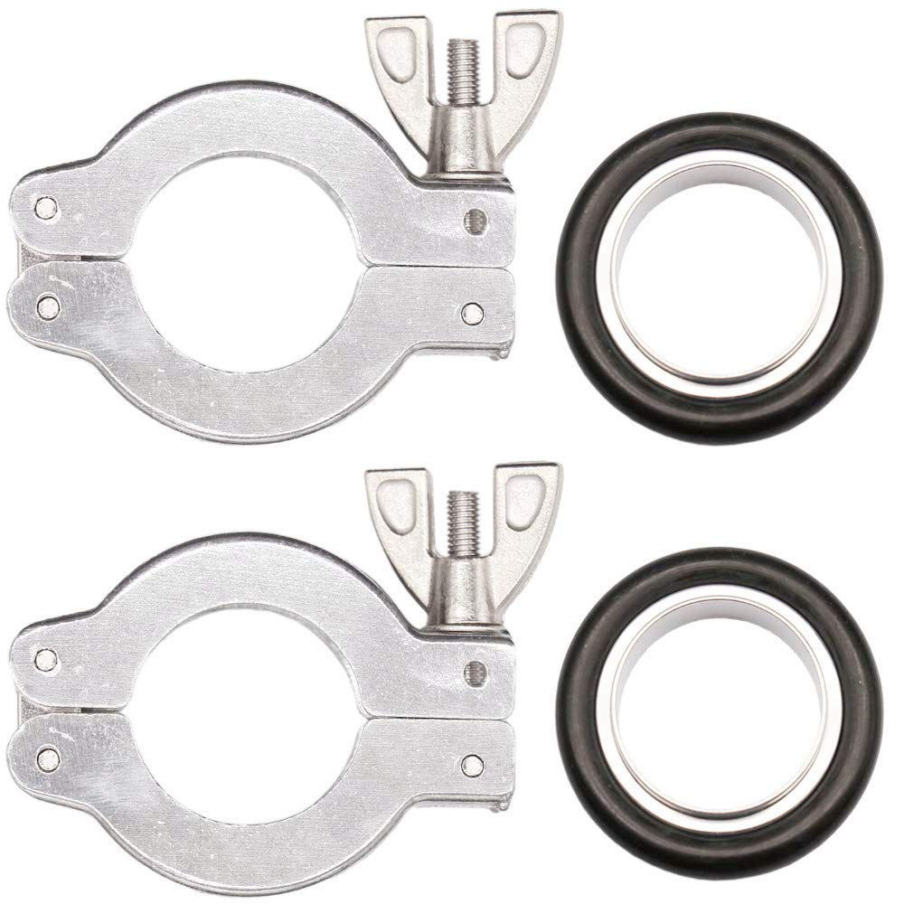KF-25 Quick Clamp - 2 Sets KF25 Flage Size NW-25 Aluminium Quick Flange Clamp with Wing Nut Closure+ Aluminum Centering Ring with FKM O-Ring Vacuum Adapter by FACTRYOLET-US