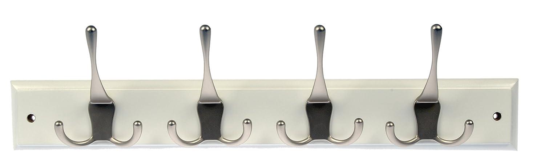 Dorman Hardware 4 1808 Hook Board with 4 Economy Triple Satin Nickel Hooks 18 Inch White Finish