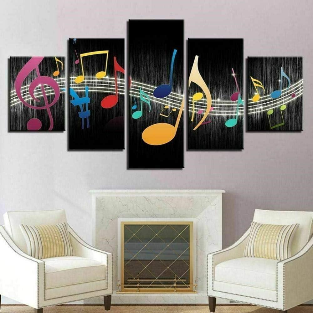 Cuadro en Lienzo 5 Pieza impresión Lienzo artística Pintura Diseño Cuadro Moderno Pared gráfica Color Abstracto Musical Notas Música Enmarcado