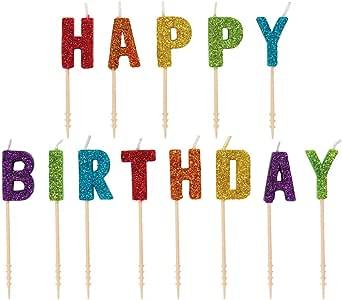 Amazon.com: Vela de cumpleaños con purpurina con texto en ...