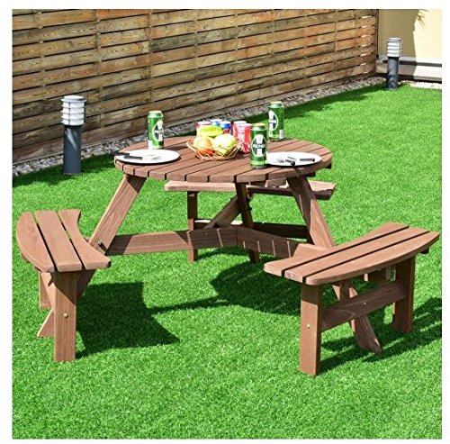 MD Group Picnic Table Bench Set 6-Person Patio Fir Wood Sturdy & Durable Outdoor Furniture