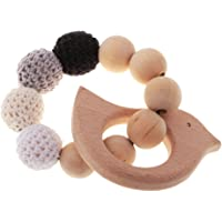 MagiDeal Bracelets Round Wooden Beads Rings Bangle Teethers Infant Rattle Toy