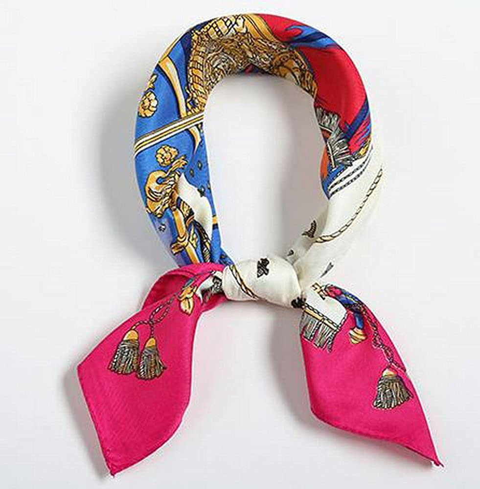 Fashion Small Square Scarves Decorative Women Scarves Pirate Ships Rose Red Brim