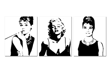 Espritte Art Large Classic Marilyn Monroe And Audrey Hepburn Picture  Painting On Canvas Print Without Part 47