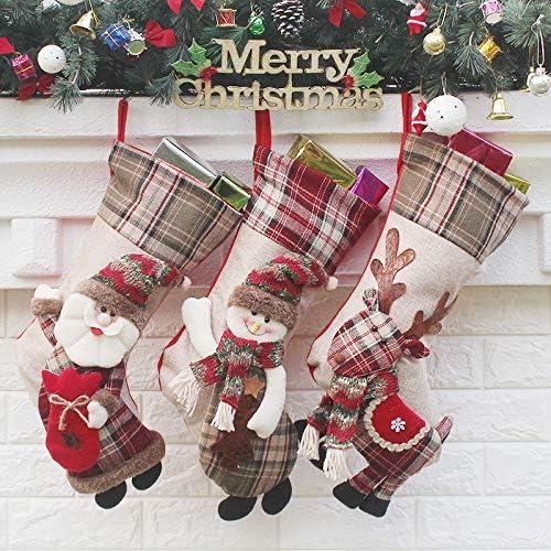 Danirora Christmas Stockings, [3 Pack] Big Xmas Stockings for Kids Santa  Snowman Stockings Goodie Bags Christmas Decoration(Color 2)