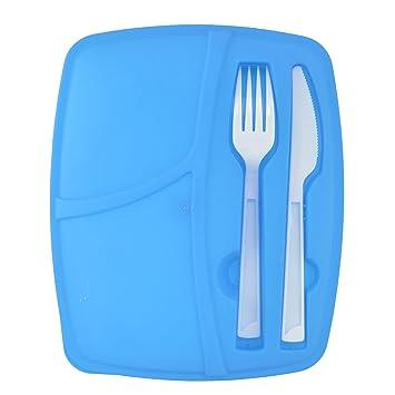 Dios 3 secciones cubertería de caja de almuerzo contenedor de almacenamiento de alimentos con tapa sin