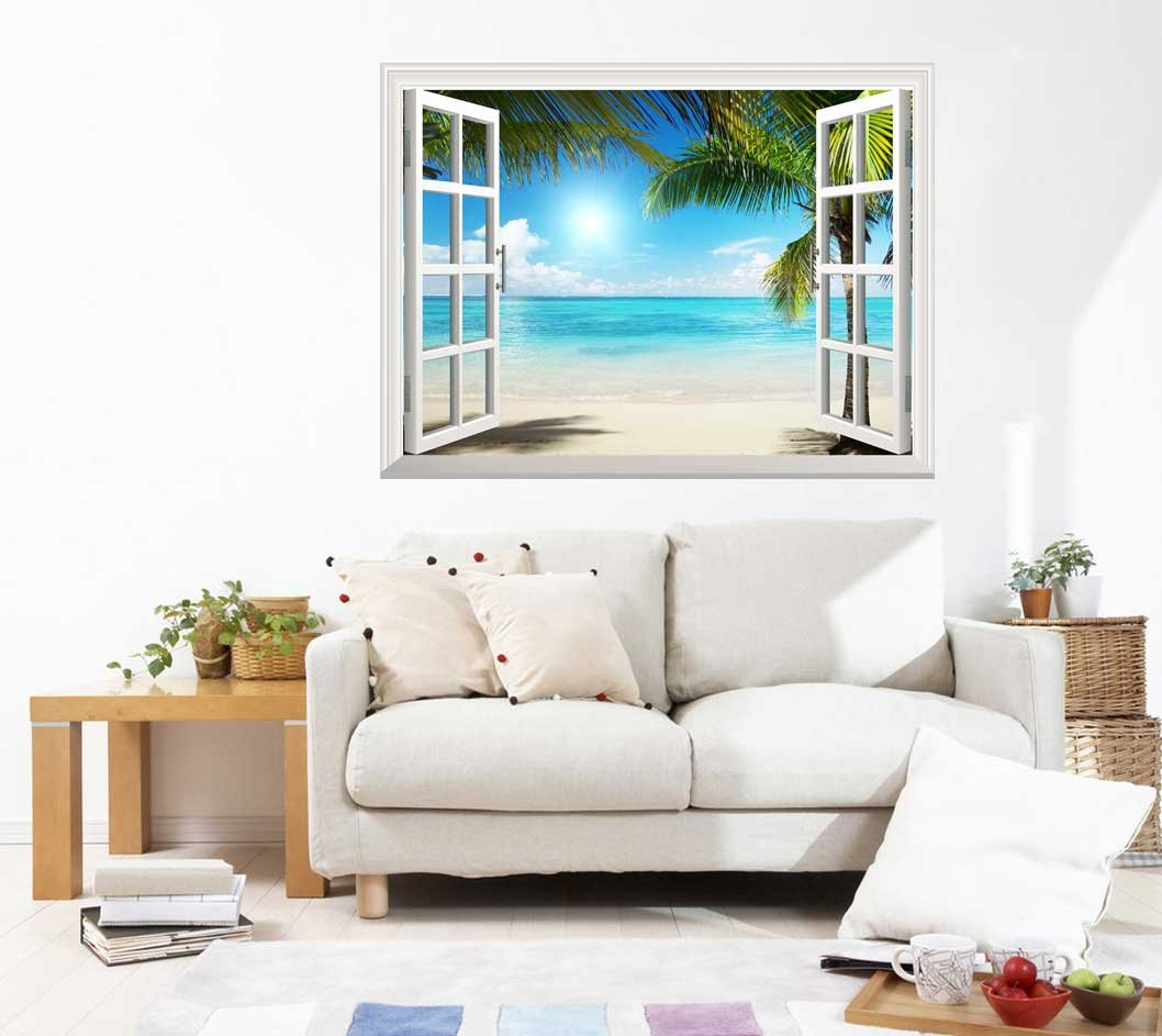 Wall26 White Sand Beach with Palm Tree Open Window Wall Mural, Removable Sticker, Home Decor - 36x48 inches by wall26 (Image #3)