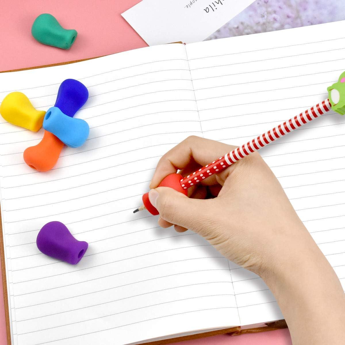 Kissral 10pcs Silicone Impugnatura Matita Bambini Pencil Gripper per Impugnatura Penna Scrittura Dello Strumento di Correzione Della Postura Ergonomico Matita Grip