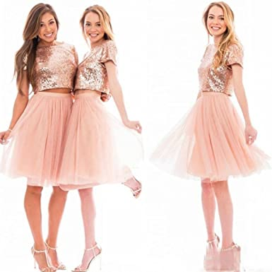 58d5c4e2bad Haokeda Two Pieces Gold Sequins Bridesmaid Dresses Short Homecoming Dresses  Plus Size(Blush Pink US2