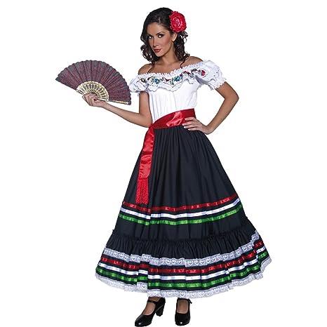 Amakando Costume Senorita Travestimento Spagnola M 44 46 Outfit Carnevale  Tema Spagna Look Western Donna ad1fe24004e