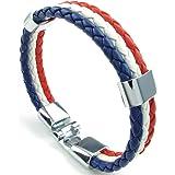 KONOV Bijoux Bracelet Homme - Drapeau Français France Manchette - Cuir - Alliage - Fantaisie - pour Homme et Femme - Chaîne de Main - Couleur Blanc Rouge Bleu