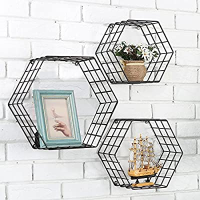 MyGift Metal Wire Hexagon Design Wall-Mounted Shelves, Set of 3, Black - Modern metal mesh wire hexagonal shaped floating shelves with matte black powder-coat finish. Features 3 metal shelves, varying in size with wire exterior and wall mounting abilities and unique honeycomb design. Perfect for storing and displaying books, toys, collectibles, plants and much more. - wall-shelves, living-room-furniture, living-room - 61j73AYZXWL. SS400  -