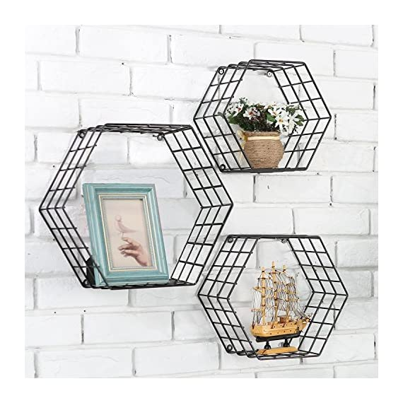 MyGift Metal Wire Hexagon Design Wall-Mounted Shelves, Set of 3, Black - Modern metal mesh wire hexagonal shaped floating shelves with matte black powder-coat finish. Features 3 metal shelves, varying in size with wire exterior and wall mounting abilities and unique honeycomb design. Perfect for storing and displaying books, toys, collectibles, plants and much more. - wall-shelves, living-room-furniture, living-room - 61j73AYZXWL. SS570  -