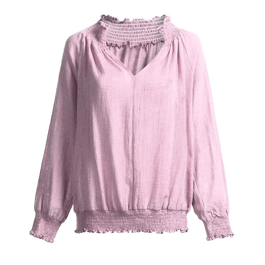 Funic Womens Cotton Linen Solid Long Sleeve Loose V-Neck Tops Casual Blouse Stitching Pleated Hem