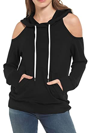 cf0f53a937d Kisscynest Women's Winter Autumn Cut Out Off Shoulder Casual Sweatshirt  Hoodie with Pocket S Black