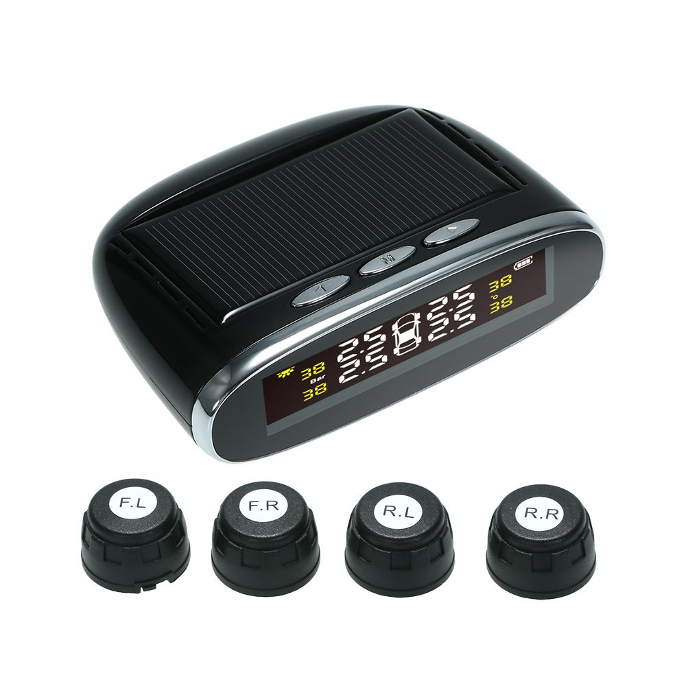 KKmoon Solar Power Wireless TPMS Tire Pressure Monitor System with 4 external Sensors Auto Security Alarm Systems
