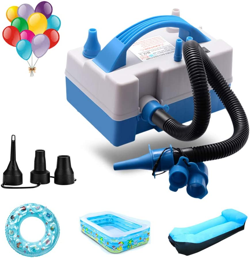 TECHSHARE Balloon Pump, Balloon Inflator, Electric Balloon Blower Inflator with Multipurpose Hose Extension (White)
