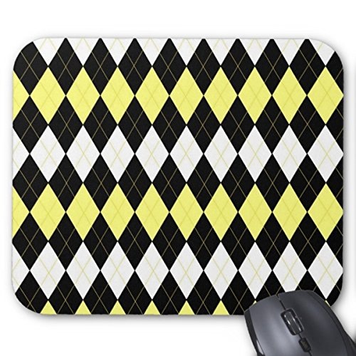 Fools Gold Yellow Argyle Mouse Pads Anti-Slip Rubber Base