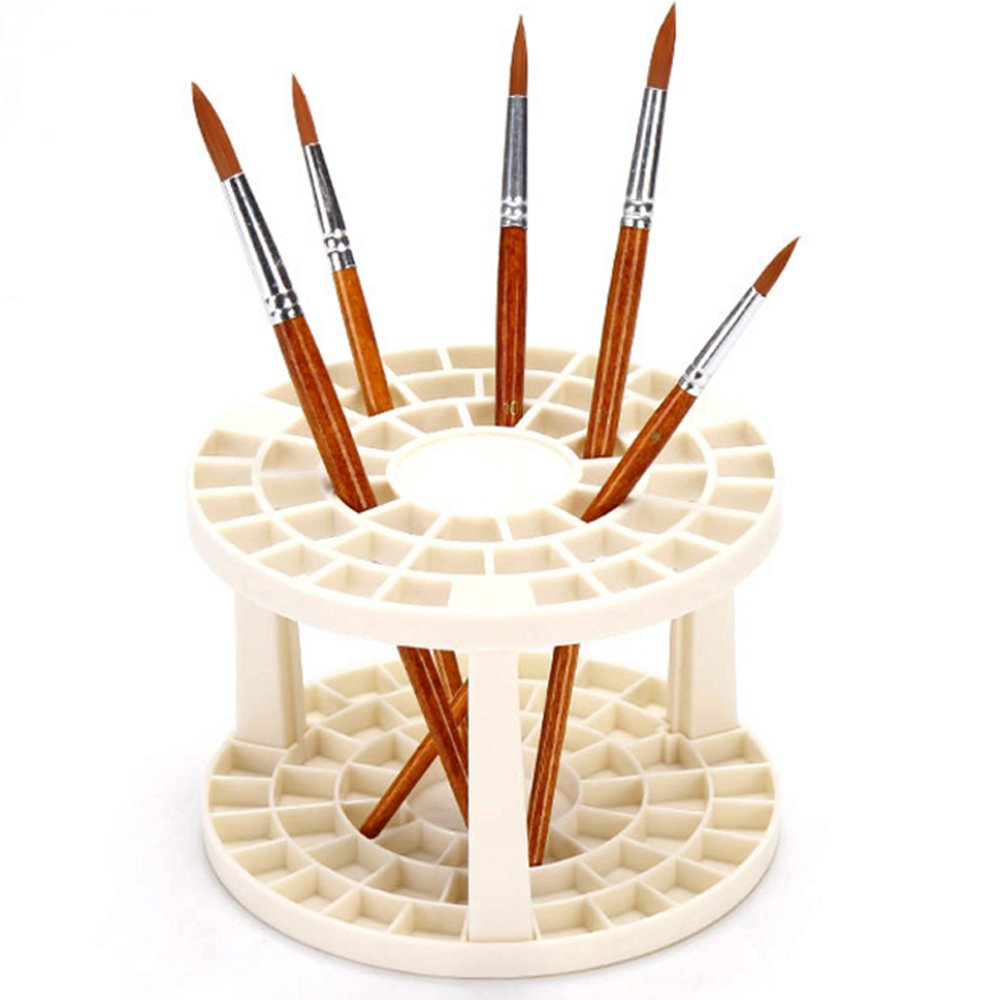 Hisight Plastic Artist Round Multi Hole Paint Brush Holder - Holds 52 Brushes Upright (1pcs) Guangzhou