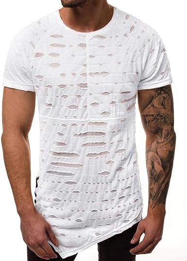 Camiseta para Hombre, Verano Manga Corta Color sólido Roto Moda Diario Suelto Casual T-Shirt Blusas Camisas Originales Cuello Redondo Suave Camiseta Diseño de Personalidad vpass: Amazon.es: Ropa y accesorios