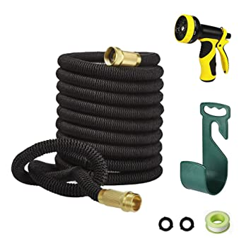 100FT Garden Hose,LAPOND Black Expandable Hose 100 Feet With Solid Brass  Connector,9