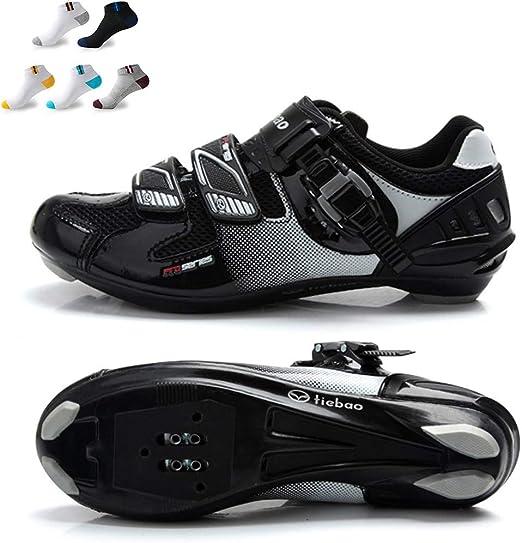 XFQ Zapatos Ciclismo Masculino, Compatible Zapatos Carretera ...