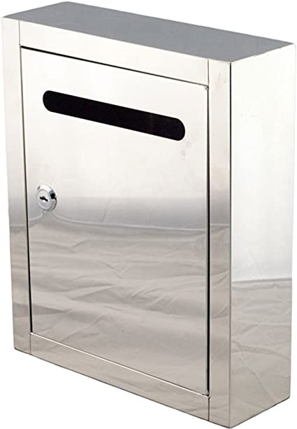 Popowbe Caja de Sugerencias de Acero Inoxidable Buzón Buzón Caja de Envío: Amazon.es: Oficina y papelería