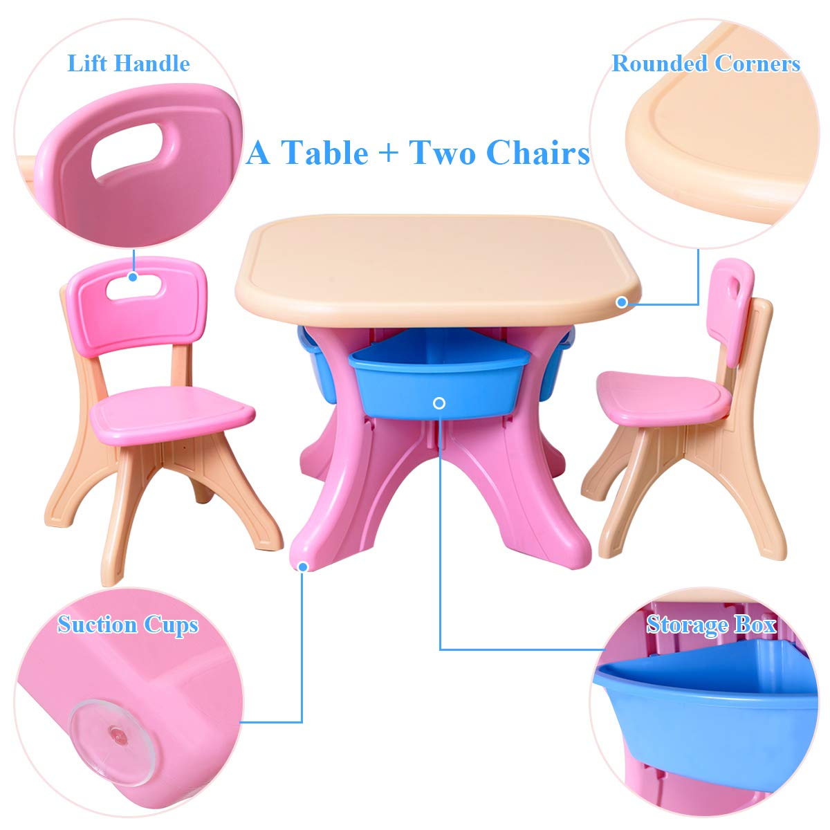Awe Inspiring Costzon Kids Table And 2 Chair Set Children Activity Art Table Set W Detachable Storage Bins Strong Bearing Capacity Lightweight Kiddie Sized Dailytribune Chair Design For Home Dailytribuneorg