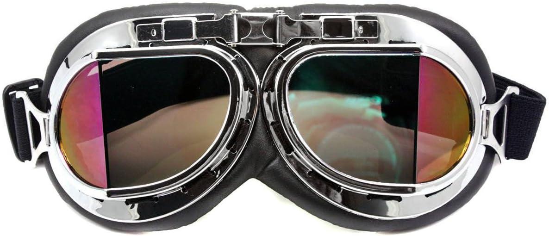 Chrom-Rahmen rauchschwarz Nsstar Raf-//Piloten-//Flieger-//Motorrad-//Roller-// Biker-//Motocross-Schutzbrille UV-Licht Wind sch/ützt vor Sonne Free Size