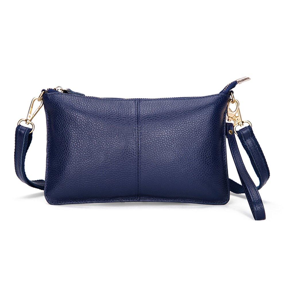 Artwell Women Genuine Leather Clutch Handbag Fashion Wristlet Purse Envelop Crossbody Shoulder Bag with Removable Long Strap for Party Wedding Shopping (Blue)
