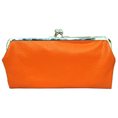 double frame vintage style clutch purse wallet orange - Double Frame Clutch Wallet