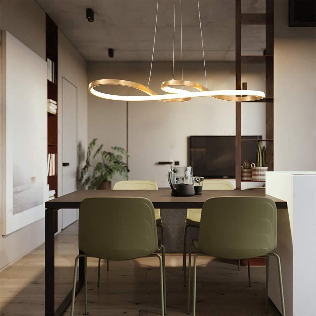 Gold Modern LED Pendant Lights Chandelier Remote Control ...
