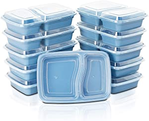 WELLIFE 28 OZ Meal Prep Containers 60 Pack 2 Compartment Bento Box with Blue Lid, Durable BPA Free Plastic Food Storage Prep Containers, Reusable, Microwaveable, Freezer & Dishwasher Safe