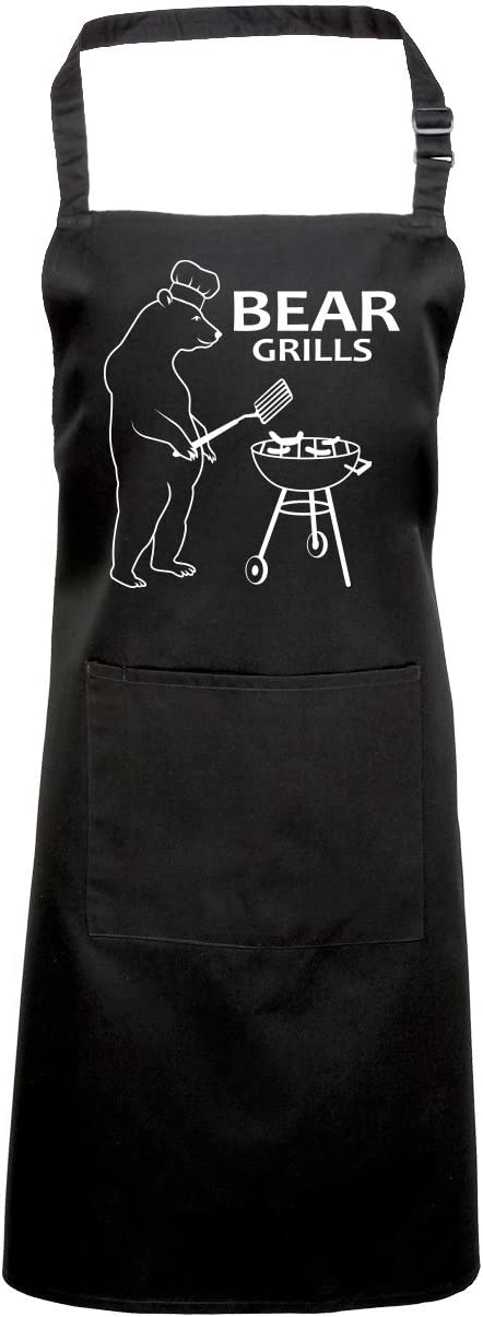 Bear Grills Fan Chef Kitchen Professional Apron for Men Women Gifts Catering Barista Butchers Long Apron for Home Kitchen Restaurant
