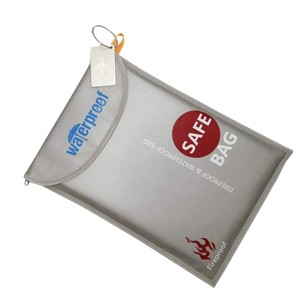 con Cerniera e Tasca per Proteggere Argento Miju Borsa Resistente al Fuoco Porta passaporto Borsa per Documenti ignifuga Documenti Gioielli