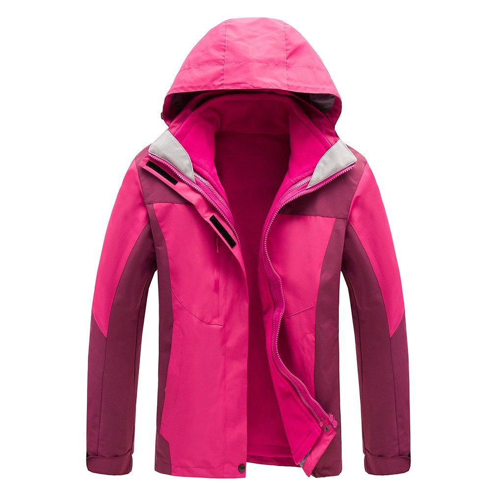 Rose Rouge XL CIKRILAN Femme 3 en 1 Coupe-Vent Capuche Chaud Manteau Imperméable de plein air Sport Veste de Randonnée Camping Marche