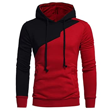 sports shoes 2b405 6aa4f Sweatshirt Herren Btruely Patchwork Hooded Pullover Langarm Mantel Outwear  (M, Rot)