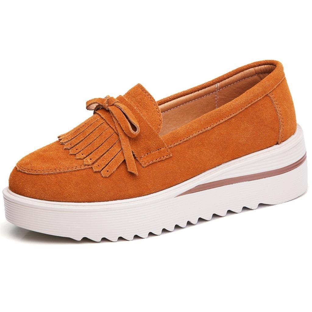 TRULAND Women's Suede Leather Slip-on Comfort Wedge Platform Fringe Moccasins (5.5 D(M) US,Brown)