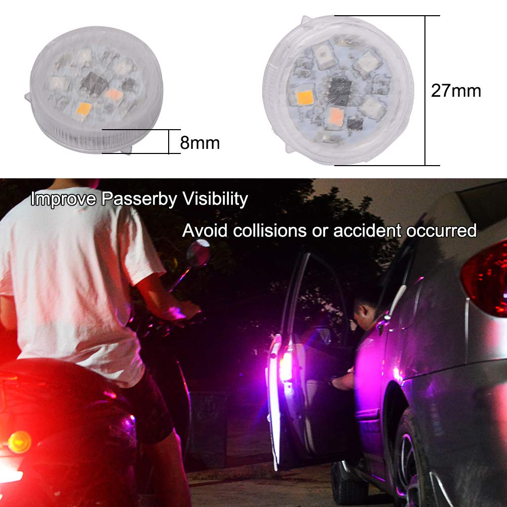 CJRSLRB 4Pcs Universal Wireless Car Door Safety LED Warning Light for Anti Rear-End Collision Multicolor