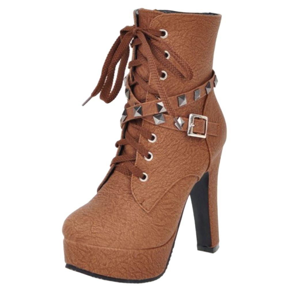 RAZAMAZA Damen Mode-Event Plateau hoche absatz Stiefel mit Nieten H Brown