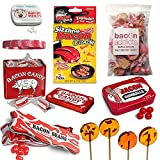 Extreme Bacon Candy Sampler Gift Pack (7pc Set + Wristband) - Bacon Mints, Jelly Beans, Gumballs, Maple Bacon Lollipops, Salt Water Taffy, Sizzling Candy & Hand Candies + Silicone Wristband