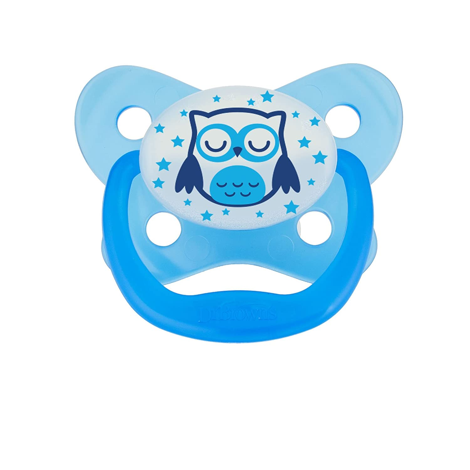 Dr Brown's Prevent Glow in The Dark Soother, 12 Months Plus, Blue, Owl Dr Brown' s Natural Flow DRB-PV31008