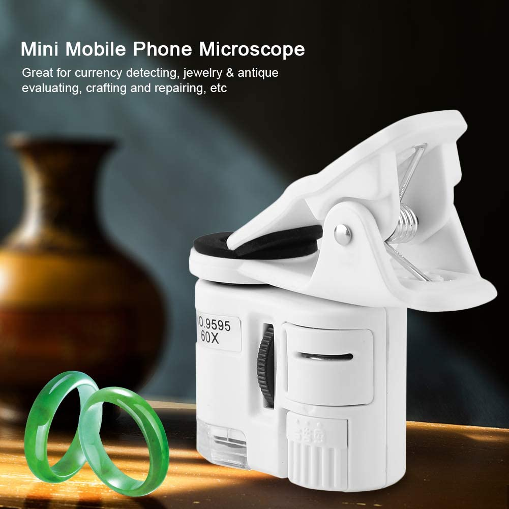 LED Light Mini Mobile Phone Microscope 9595W 60X Portable for Currency Detecting Mini Mobile Phone Microscope Mini Mobile Phone Clip Microscope
