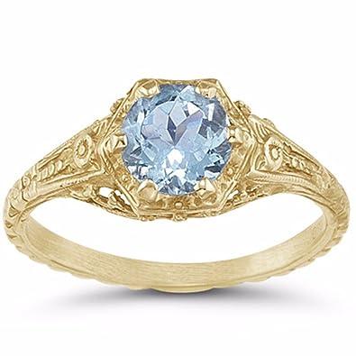 2119cbff30cbb Antique-Style Victorian-Era Floral Aquamarine Ring in 14K Yellow ...