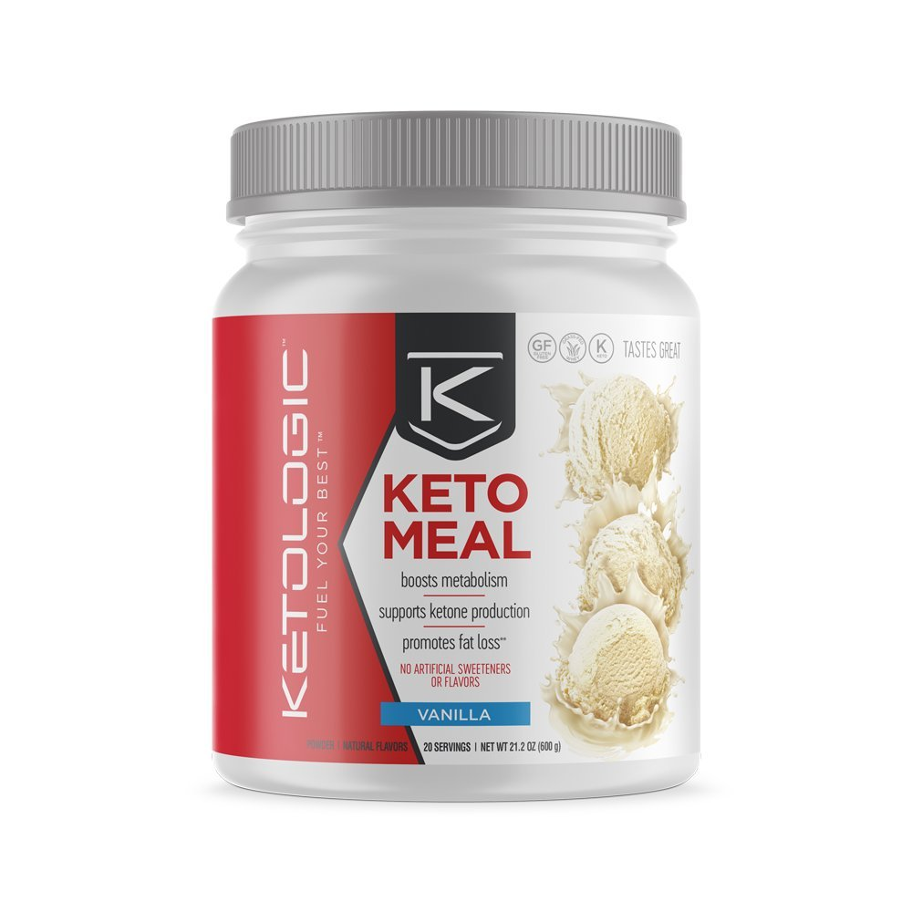 KetoLogic MRP – Keto Meal Replacement MCT Shake – Suppresses Appetite / Promotes Fat Loss / Boosts Ketones – Vanilla, 20 Servings