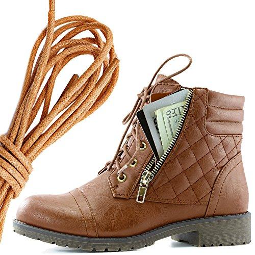 Dailyshoes Donna Militare Allacciatura Fibbia Stivali Da Combattimento Alla Caviglia Alta Tasca Esclusiva Per Carte Di Credito, Tan Tan Pu